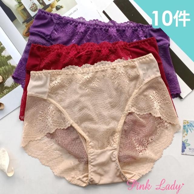 【PINK LADY】性感透膚蕾絲內褲 古典巴洛克 中高腰無痕內褲(10件組)