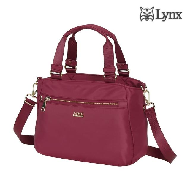 【Lynx】2way多夾層手提、斜背兩用女包-酒紅色(輕巧實用、防潑水、防盜刷)