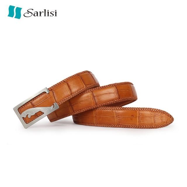 【Sarlisi】真皮針扣鱷魚皮帶鱷魚腹皮肚皮腰帶手工編織包邊