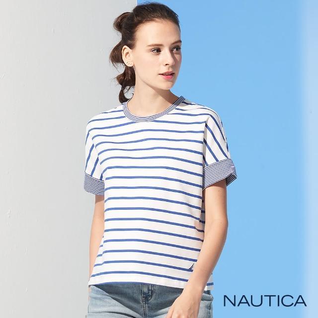 【NAUTICA】女裝條紋短袖T恤(海軍藍)
