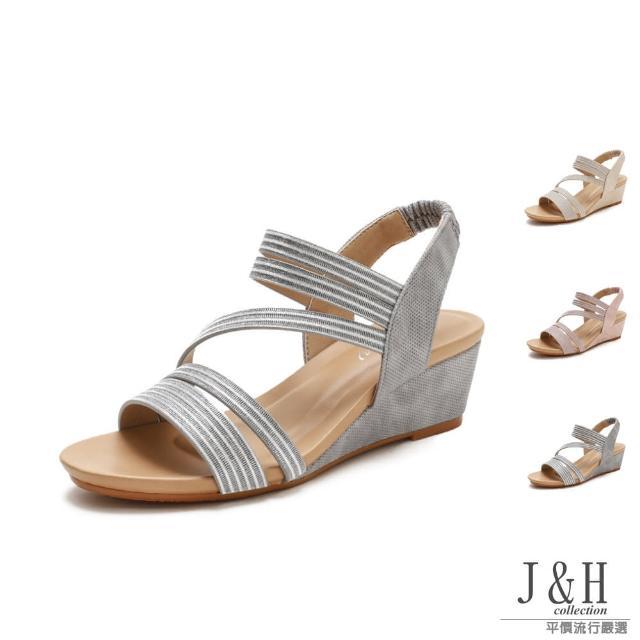 【J&H collection】涼夏舒適軟底一字帶羅馬高跟涼鞋(現+預 粉色 / 金色 / 灰色)