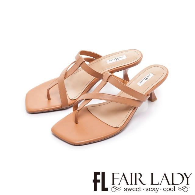 【FAIR LADY】初夏 質感簡約線條夾腳小貓跟拖鞋(蜜糖棕、202401)