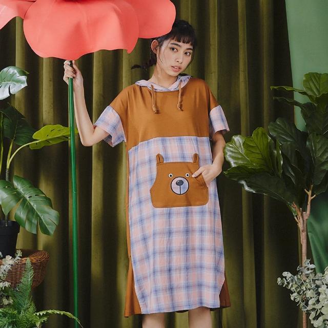 【Dailo】拼接格紋小熊-女短袖洋裝(三色/魅力商品/版型適中)