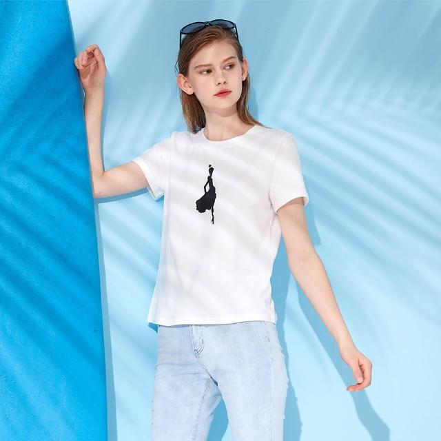 【MASTINA】跳舞女孩印花-女短袖上衣(白色/版型適中)