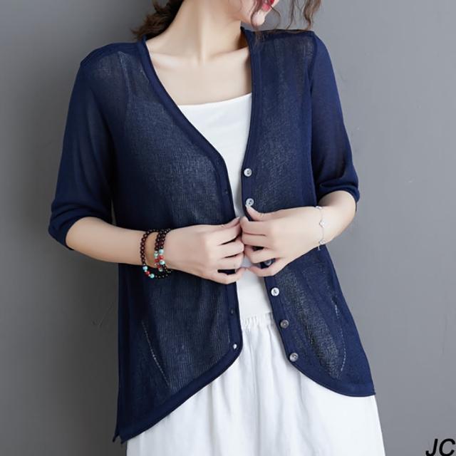 【JC Collection】輕薄棉混紡材質針織V領七分袖前釦防曬空調外套(白色、藍色)