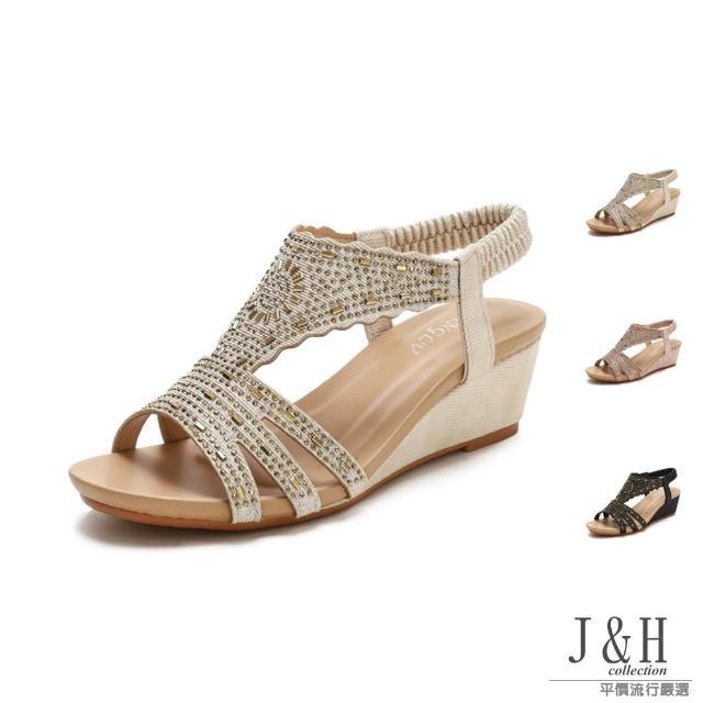 【J&H collection】經典一字華麗水鑽高跟涼鞋(現+預 杏色 / 粉色 / 黑色)