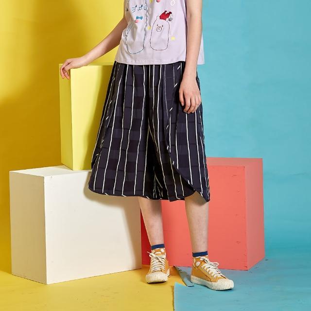【Dailo】條紋彈性寬版-女七分褲(二色/版型適中)