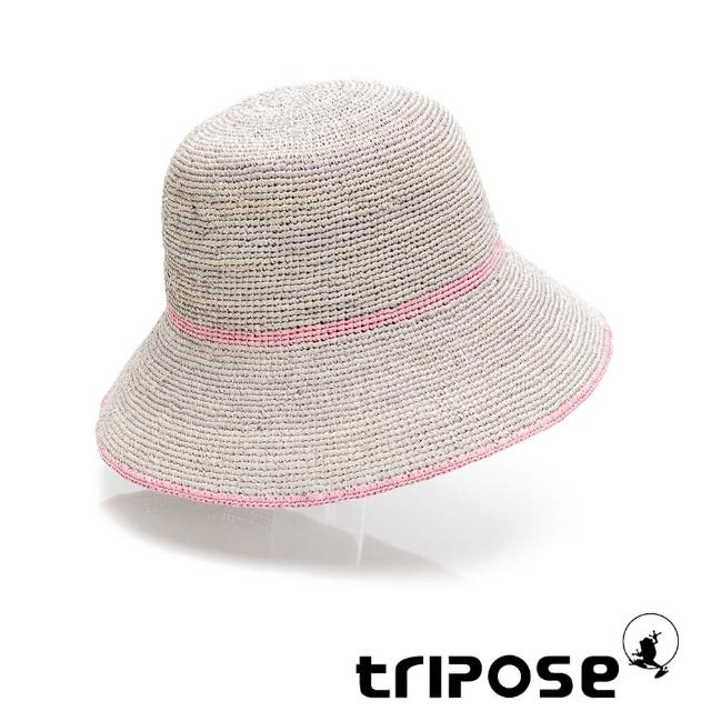 【tripose】JUNE 手工Raffia拉菲草帽 帽簷8cm(灰x粉)