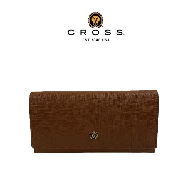 【CROSS】頂級NAPPA小牛皮十字紋鈕扣拉鍊長夾(咖啡色 附贈原廠送禮提袋)