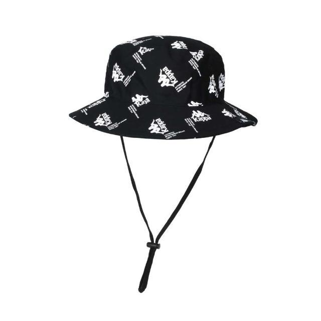 【KAPPA】漁夫帽-純棉 防曬 遮陽 運動 帽子 黑白(321937W-005)