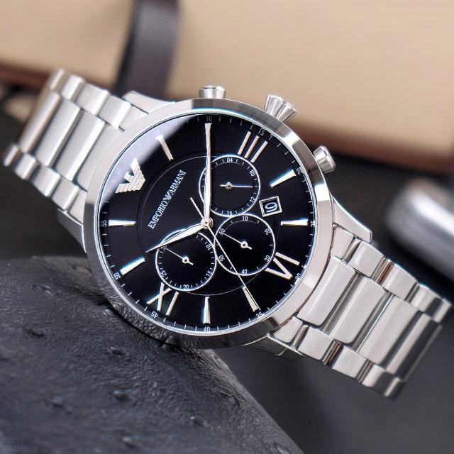 【EMPORIO ARMANI】亞曼尼 公司貨 Giovanni 商務經典三眼計時不鏽鋼腕錶/銀x黑面(AR11208)