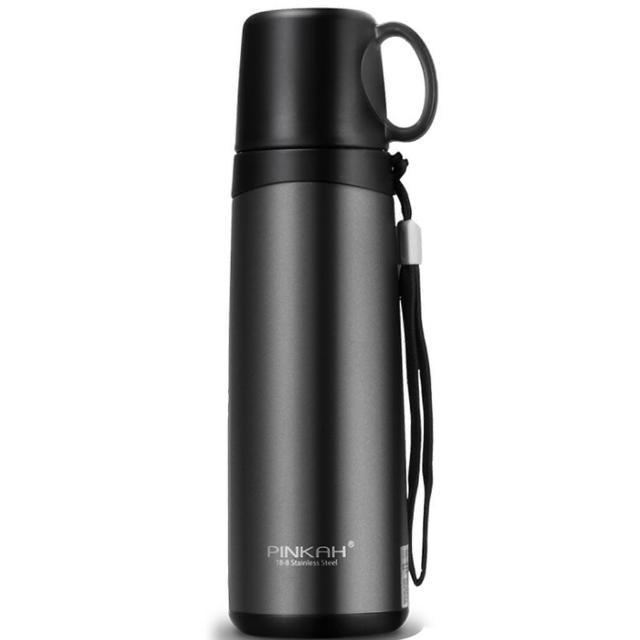【PUSH!】不鏽鋼帶提把水杯蓋保溫杯茶杯車載保溫杯(520ml E126)