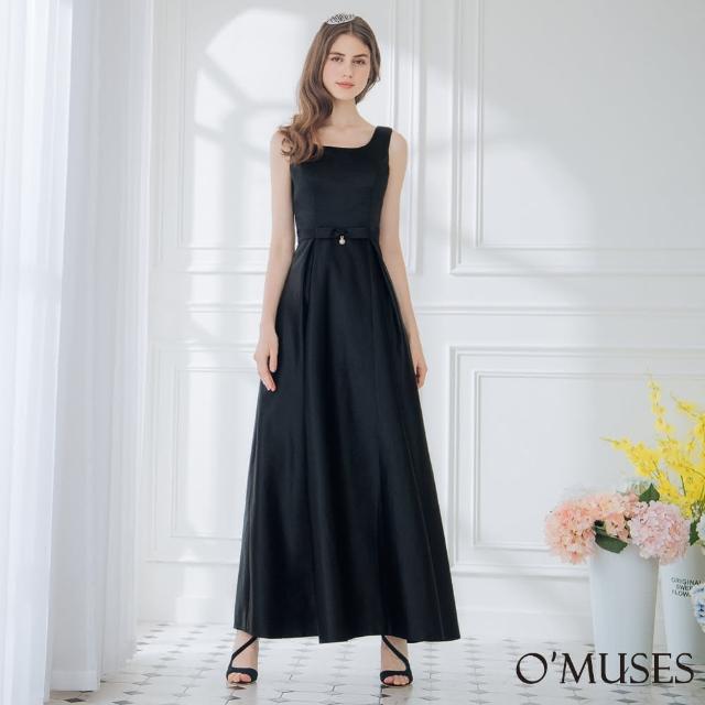 【OMUSES】簡約緞布伴娘黑色長禮服19-1920(S-2L)