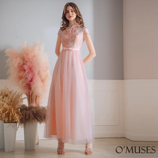 【OMUSES】緹花網紗粉色旗袍長禮服7-2101(S-2L)