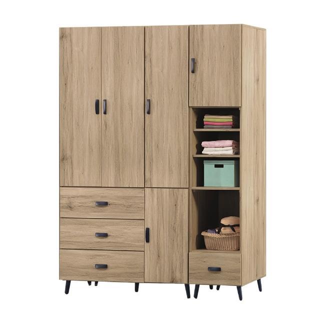 【BODEN】圖斯5.4尺多功能收納衣櫃組合(四門三抽+單門單抽)