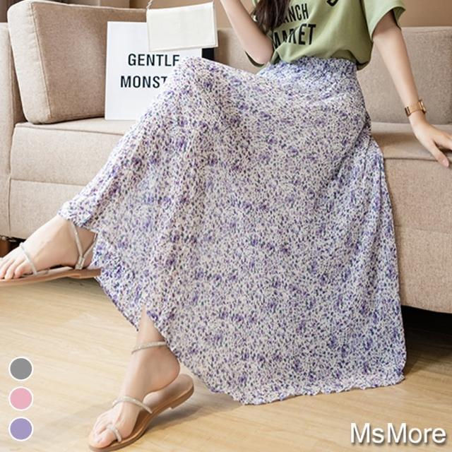 【MsMore】普羅旺斯粉粉佳人雪紡印花A字大襬紗裙#109452現貨+預購(3色)