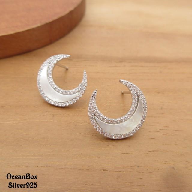 【海洋盒子】高貴優雅月牙白貝殼鋯石925純銀耳環(925純銀外鍍專櫃級正白k.貼耳耳環)