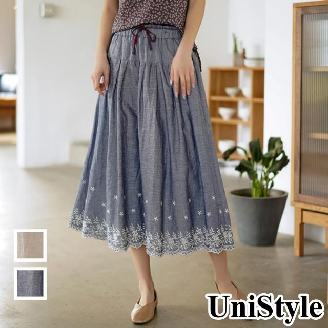 【UniStyle】原創設計師款 文藝高腰顯瘦鬆緊刺繡半身裙 女 FA5544(牛仔藍/燕麥色)