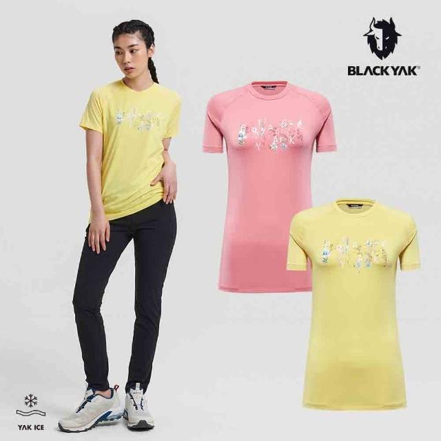 【BLACK YAK】女 EASY RUN短袖上衣[粉紅/黃色]BYAB1WC506(韓國春夏 短袖 女上衣)