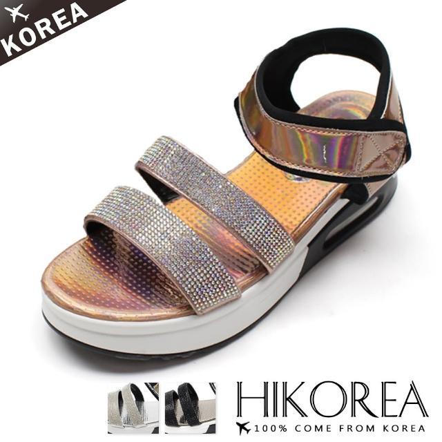 【HIKOREA】韓國空運/版型正常。炫彩亮眼貼鑽魔鬼氈厚底氣墊涼拖鞋(71-3280三色/現貨+預購)