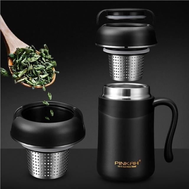 【PUSH!】餐具用品304不鏽鋼380ML帶手柄保溫杯泡茶杯(E120)