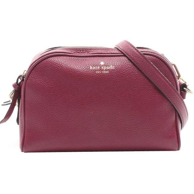 【KATE SPADE】紫紅色雙拉鍊半月斜背包