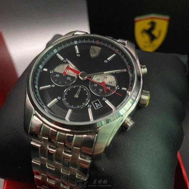 【Ferrari 法拉利】FERRARI法拉利男錶型號FE00022(黑色錶面銀錶殼銀色精鋼錶帶款)