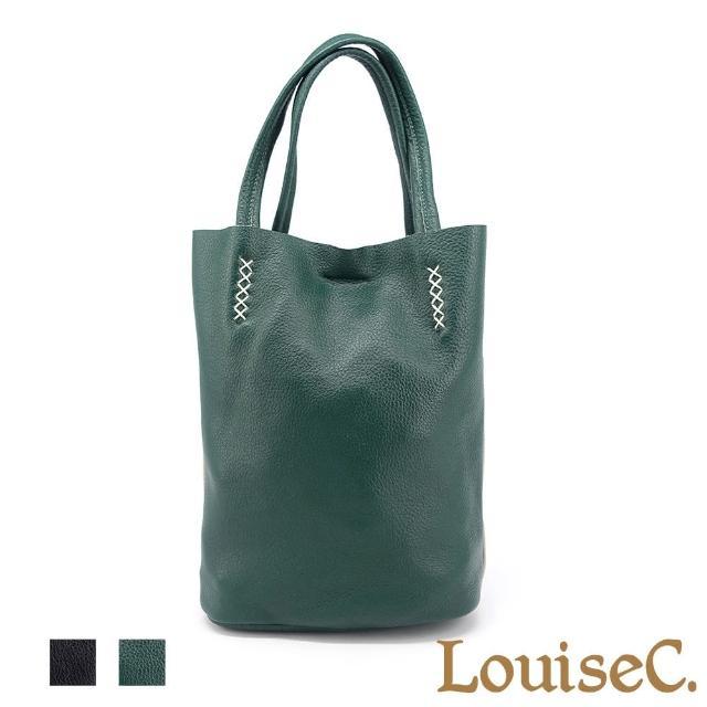 【LouiseC.】Tree House 真牛皮手縫線手提斜背水桶包-2色-可拆式內袋設計(W19-821)