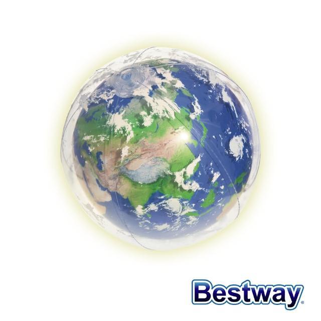 【BESTWAY】Bestway。世界地球LED發光海灘球 24吋 31045(沙灘球)