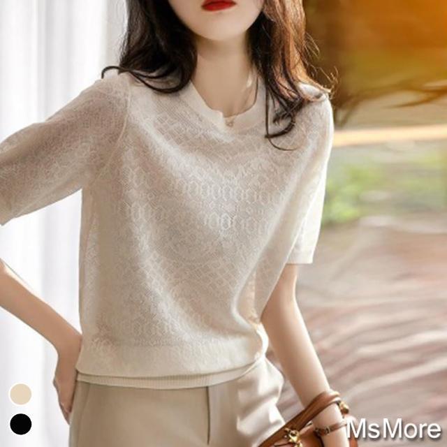 【MsMore】日式編織感緹花微透桑蠶冰絲針織上衣#j109501現貨+預購(2色)