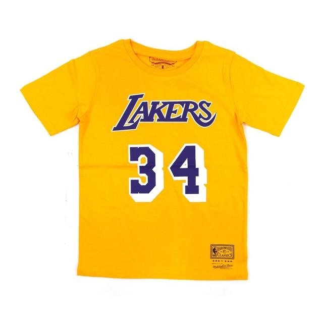 【NBA】M&N NBA 青少年 N&N 短袖上衣 湖人隊 #34 Shaquille ONeal(WN2B7BMR1-LAKSO)