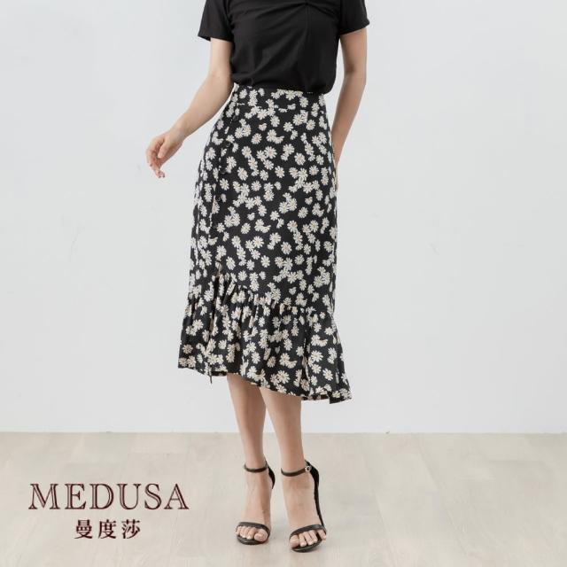 【MEDUSA 曼度莎】小菊花印花排釦荷葉魚尾裙(M-XL) 上班穿搭 職場穿搭 雪紡裙(601-7100C)
