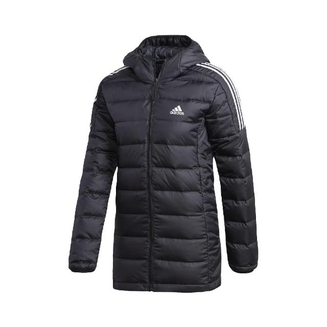 【adidas 愛迪達】外套 Essentials Parka 休閒 女款 愛迪達 羽絨 鴨絨 保暖 修身 連帽 黑 白(GH4590)