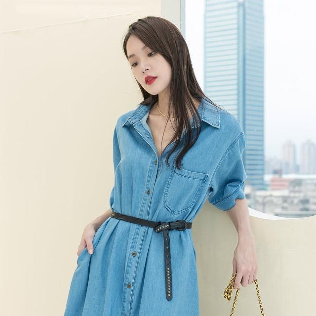 【KEZZA】丹寧襯衫式單口袋洋裝