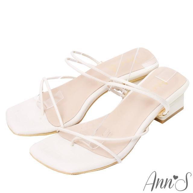【Ann'S】極細線條就是性感-可兩穿方頭粗跟夾腳涼鞋3.5cm(米白)