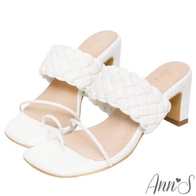 【Ann'S】立體編織套指夾腳方頭扁跟涼拖鞋7cm-版型偏小(米白)
