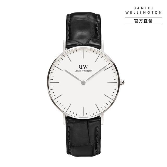 【Daniel Wellington】官方直營 Classic Reading 36mm爵士黑壓紋真皮錶 絕版(DW手錶 DW00100058)