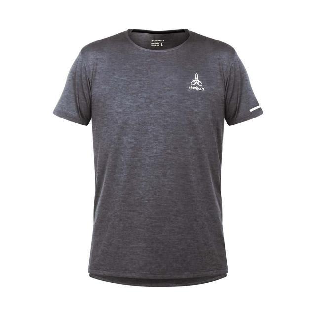 【HODARLA】男女辰光剪接短袖T恤-台灣製 吸濕排汗 慢跑 路跑 上衣 反光 運動 麻花灰(3161501)