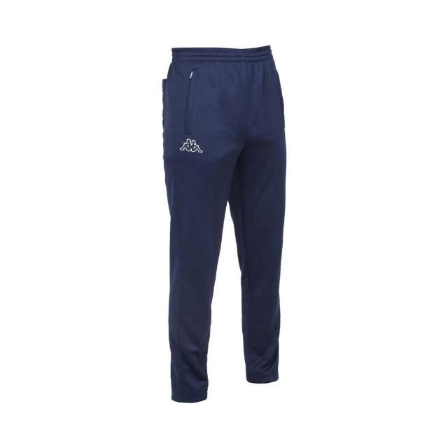 【KAPPA】男針織長褲-運動 路跑 慢跑 3M 吸濕排汗 抗UV 丈青黑白(31185GW-B29)