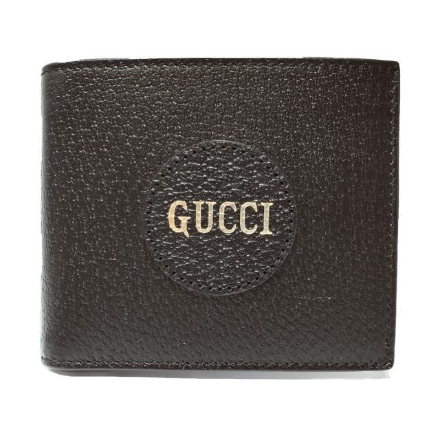 【GUCCI 古馳】644100 經典品牌LOGO牛皮摺疊短夾(黑色)
