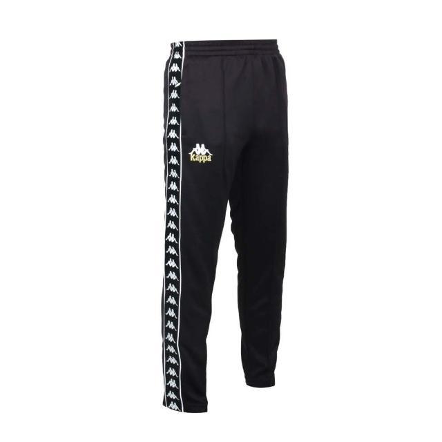 【KAPPA】男針織長褲-吸濕排汗 抗UV 慢跑 路跑 運動 黑白金(34172LW-005)