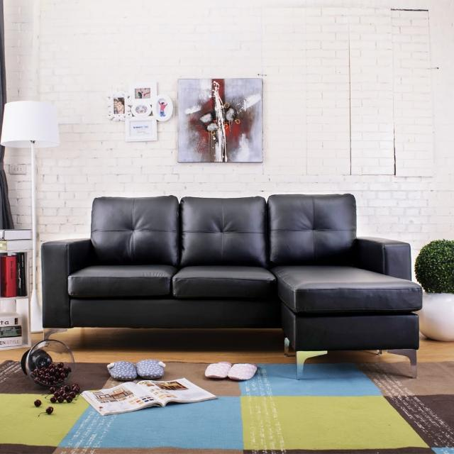 【AT HOME】現代簡約L型皮質沙發(兩色可選/馬卡斯)