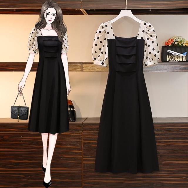 【KVOLL】輕甜復古波點拼接方領洋裝L-4XL