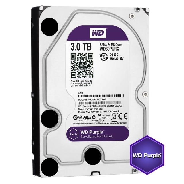 【搭SanDisk 64GB 記憶卡】WD 威騰 紫標 3TB 3.5吋監控系統硬碟(30PURZ)