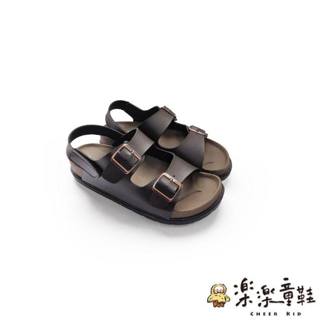 【樂樂童鞋】【台灣製現貨】MIT寬帶涼鞋-棕-C036(現貨 台灣製 女涼鞋 露趾鞋)