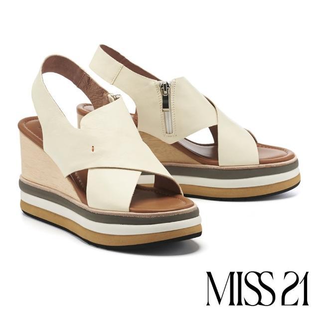 【MISS 21】新潮復古交叉繫帶撞色木紋楔型厚底涼鞋(米)