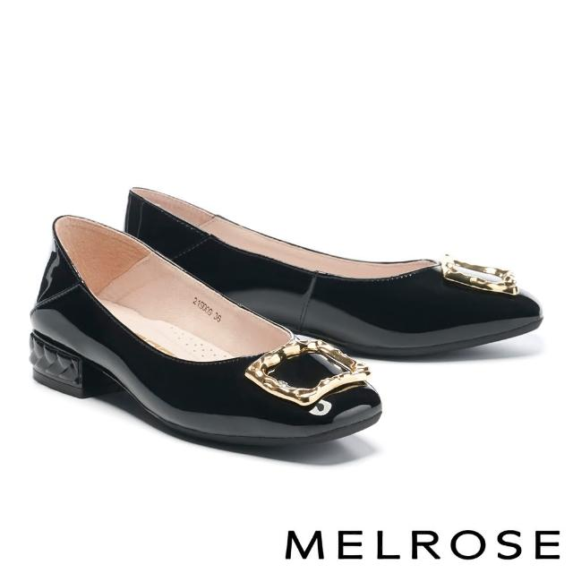 【MELROSE】復古質感金屬方釦全真皮方頭低跟鞋(黑)