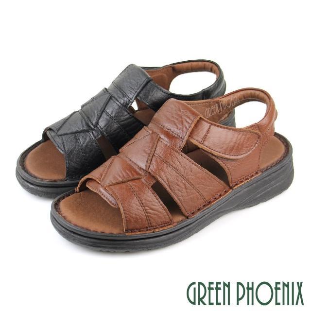 【GREEN PHOENIX 波兒德】男款台灣手工縫製幾何圖形全真皮沾黏式寬楦厚底涼鞋(咖啡、黑色)