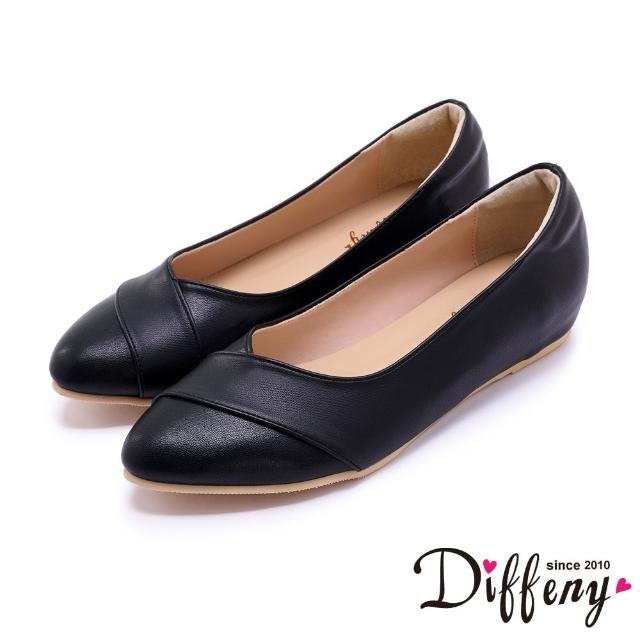 【Diffeny】包鞋_MIT雙色拼接V口內增高平底鞋(黑)