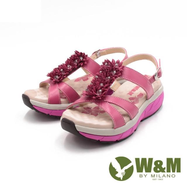 【W&M】女 FIT健走健碩彈力增高涼鞋 女鞋(桃粉)